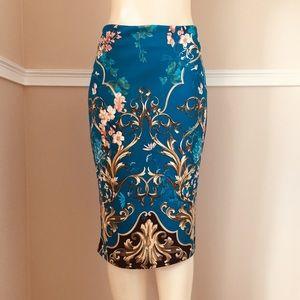 Classy Dark Teal w/ Gold ⚜️ Designs Pencil Skirt